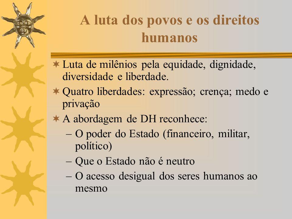 A luta dos povos e os direitos humanos Luta de milênios pela equidade, dignidade, diversidade e liberdade.