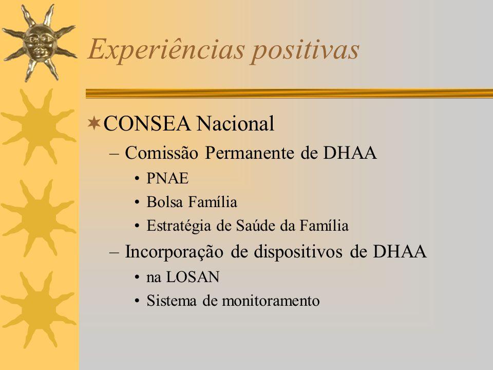 Experiências positivas CONSEA Nacional –Comissão Permanente de DHAA PNAE Bolsa Família Estratégia de Saúde da Família –Incorporação de dispositivos de DHAA na LOSAN Sistema de monitoramento