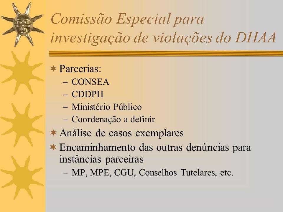 Comissão Especial para investigação de violações do DHAA Parcerias: –CONSEA –CDDPH –Ministério Público –Coordenação a definir Análise de casos exemplares Encaminhamento das outras denúncias para instâncias parceiras –MP, MPE, CGU, Conselhos Tutelares, etc.