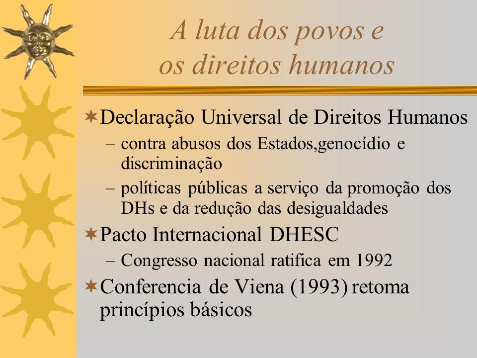 A luta dos povos e os direitos humanos Declaração Universal de Direitos Humanos –contra abusos dos Estados,genocídio e discriminação –políticas públicas a serviço da promoção dos DHs e da redução das desigualdades Pacto Internacional DHESC –Congresso nacional ratifica em 1992 Conferencia de Viena (1993) retoma princípios básicos