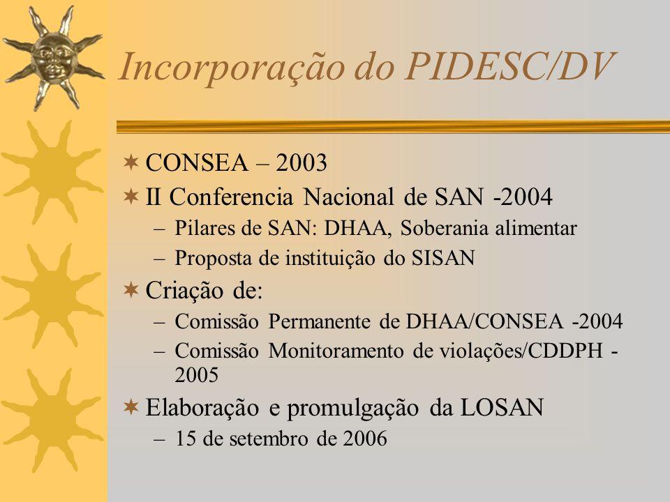 Incorporação do PIDESC/DV CONSEA – 2003 II Conferencia Nacional de SAN -2004 –Pilares de SAN: DHAA, Soberania alimentar –Proposta de instituição do SISAN Criação de: –Comissão Permanente de DHAA/CONSEA -2004 –Comissão Monitoramento de violações/CDDPH - 2005 Elaboração e promulgação da LOSAN –15 de setembro de 2006