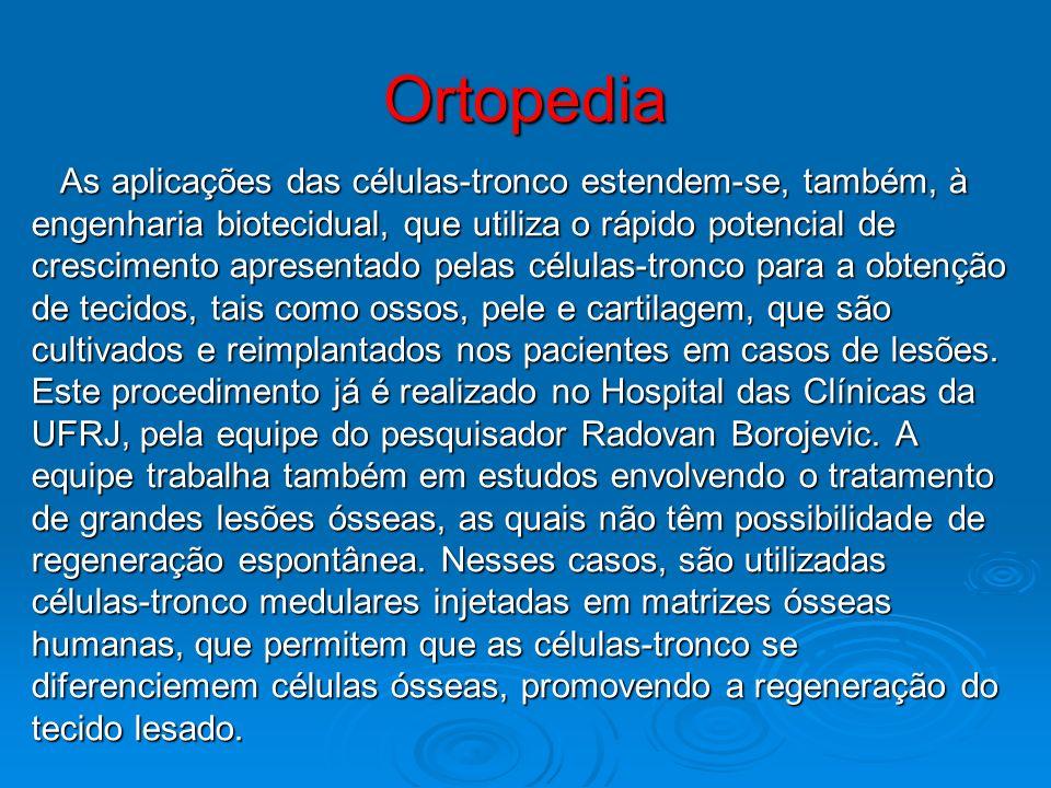 Ortopedia As aplicações das células-tronco estendem-se, também, à As aplicações das células-tronco estendem-se, também, à engenharia biotecidual, que