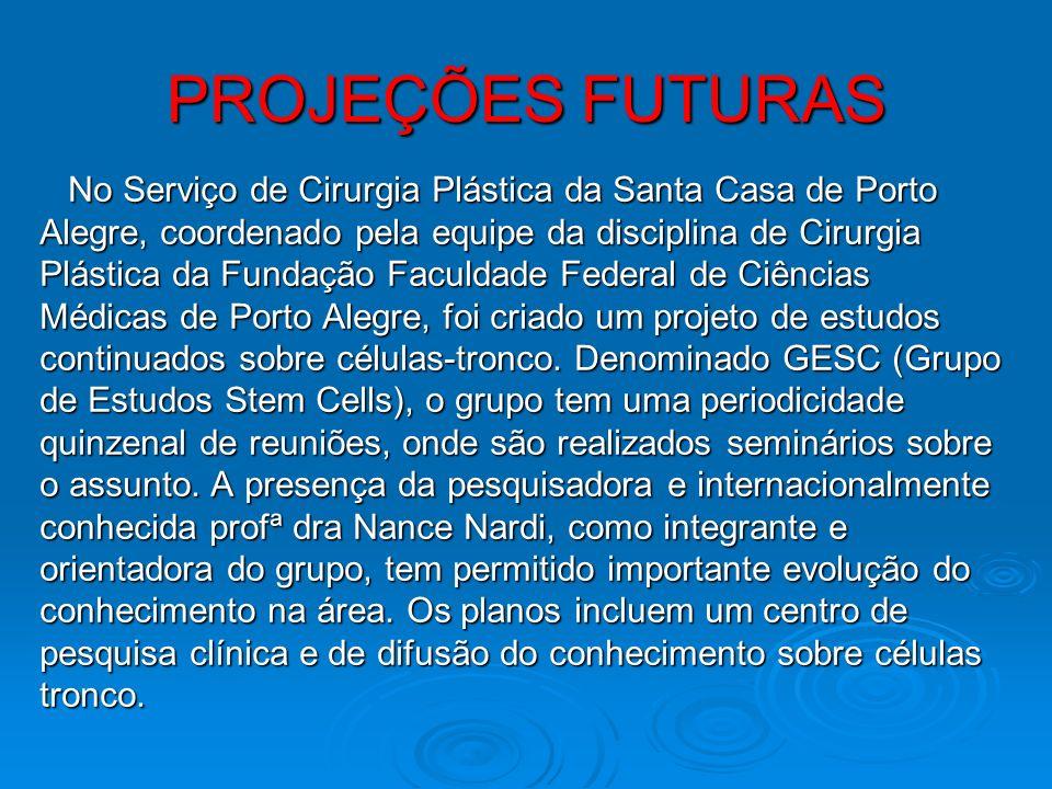 PROJEÇÕES FUTURAS No Serviço de Cirurgia Plástica da Santa Casa de Porto No Serviço de Cirurgia Plástica da Santa Casa de Porto Alegre, coordenado pel