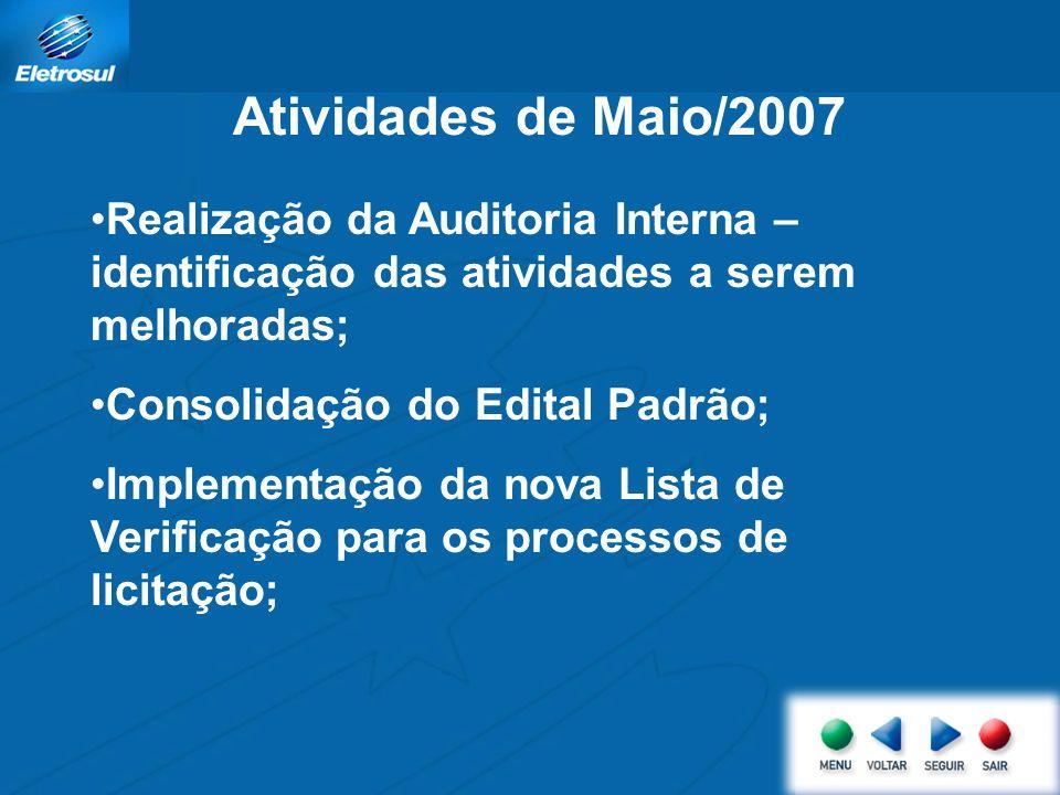 Atividades de Maio/2007 Realização da Auditoria Interna – identificação das atividades a serem melhoradas; Consolidação do Edital Padrão; Implementação da nova Lista de Verificação para os processos de licitação;