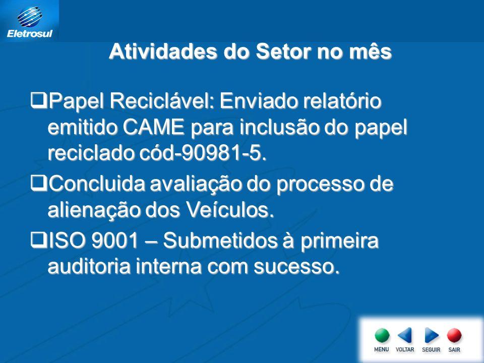 Papel Reciclável: Enviado relatório emitido CAME para inclusão do papel reciclado cód-90981-5.