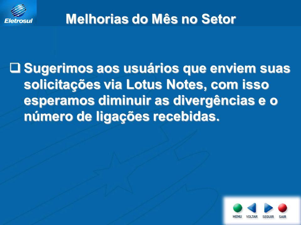 Sugerimos aos usuários que enviem suas solicitações via Lotus Notes, com isso esperamos diminuir as divergências e o número de ligações recebidas.