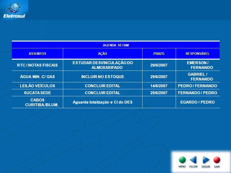 AGENDA SETAM ASSUNTOSAÇÃOPRAZORESPONSÁVEL RTC / NOTAS FISCAIS ESTUDAR DESVINCULAÇÃO DO ALMOXARIFADO 29/6/2007 EMERSON / FERNANDO ÁGUA MIN.