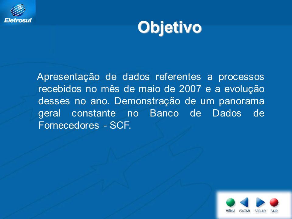 Apresentação de dados referentes a processos recebidos no mês de maio de 2007 e a evolução desses no ano.