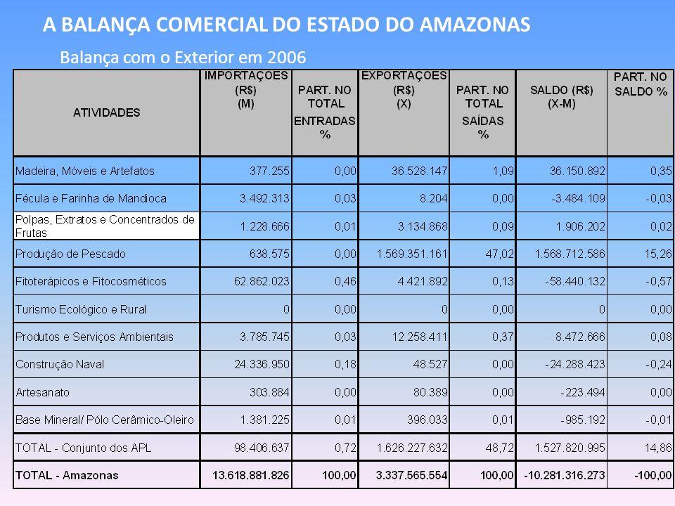 A BALANÇA COMERCIAL DO ESTADO DO AMAZONAS Balança com o Exterior em 2006