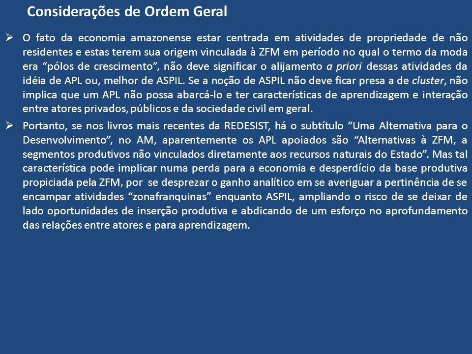 Considerações de Ordem Geral O fato da economia amazonense estar centrada em atividades de propriedade de não residentes e estas terem sua origem vinc