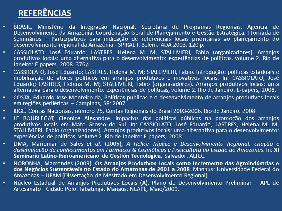 REFERÊNCIAS BRASIL. Ministério da Integração Nacional. Secretaria de Programas Regionais. Agencia de Desenvolvimento da Amazônia. Coordenação Geral de