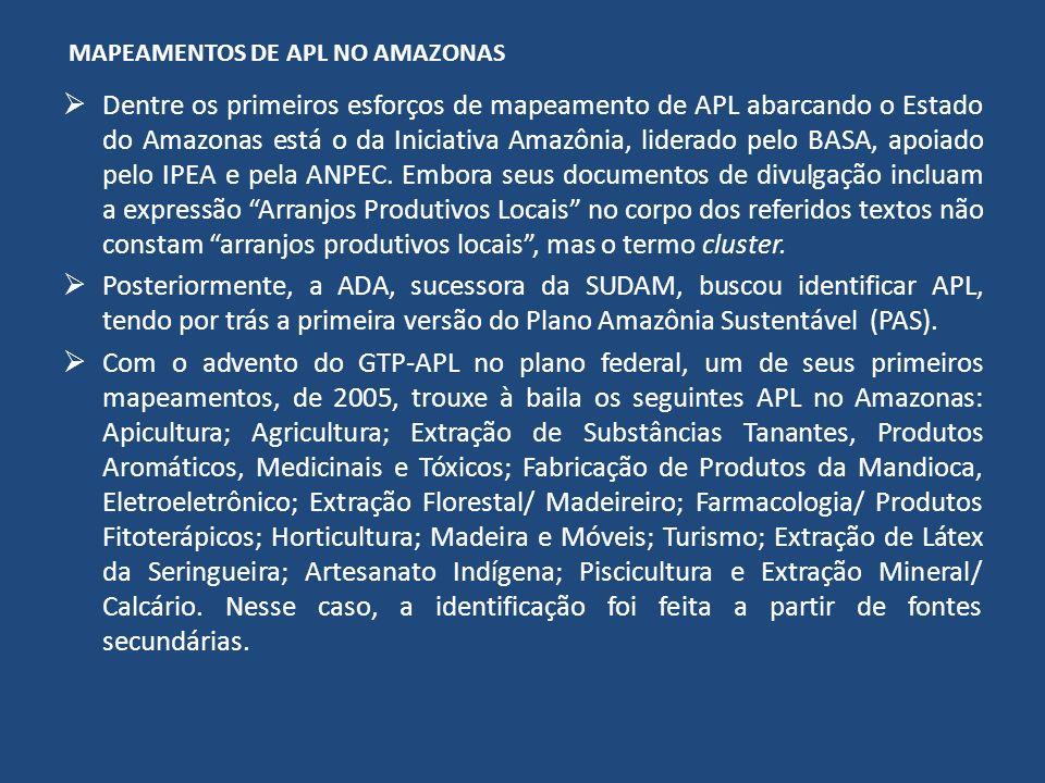 MAPEAMENTOS DE APL NO AMAZONAS Dentre os primeiros esforços de mapeamento de APL abarcando o Estado do Amazonas está o da Iniciativa Amazônia, liderad