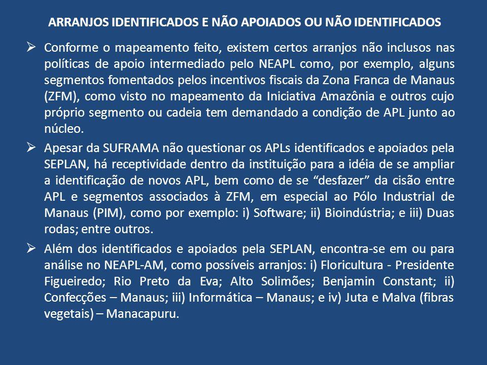 ARRANJOS IDENTIFICADOS E NÃO APOIADOS OU NÃO IDENTIFICADOS Conforme o mapeamento feito, existem certos arranjos não inclusos nas políticas de apoio intermediado pelo NEAPL como, por exemplo, alguns segmentos fomentados pelos incentivos fiscais da Zona Franca de Manaus (ZFM), como visto no mapeamento da Iniciativa Amazônia e outros cujo próprio segmento ou cadeia tem demandado a condição de APL junto ao núcleo.