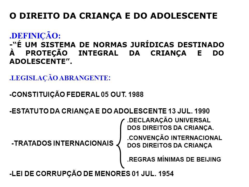 O DIREITO DA CRIANÇA E DO ADOLESCENTE.DEFINIÇÃO: -É UM SISTEMA DE NORMAS JURÍDICAS DESTINADO À PROTEÇÃO INTEGRAL DA CRIANÇA E DO ADOLESCENTE..LEGISLAÇ
