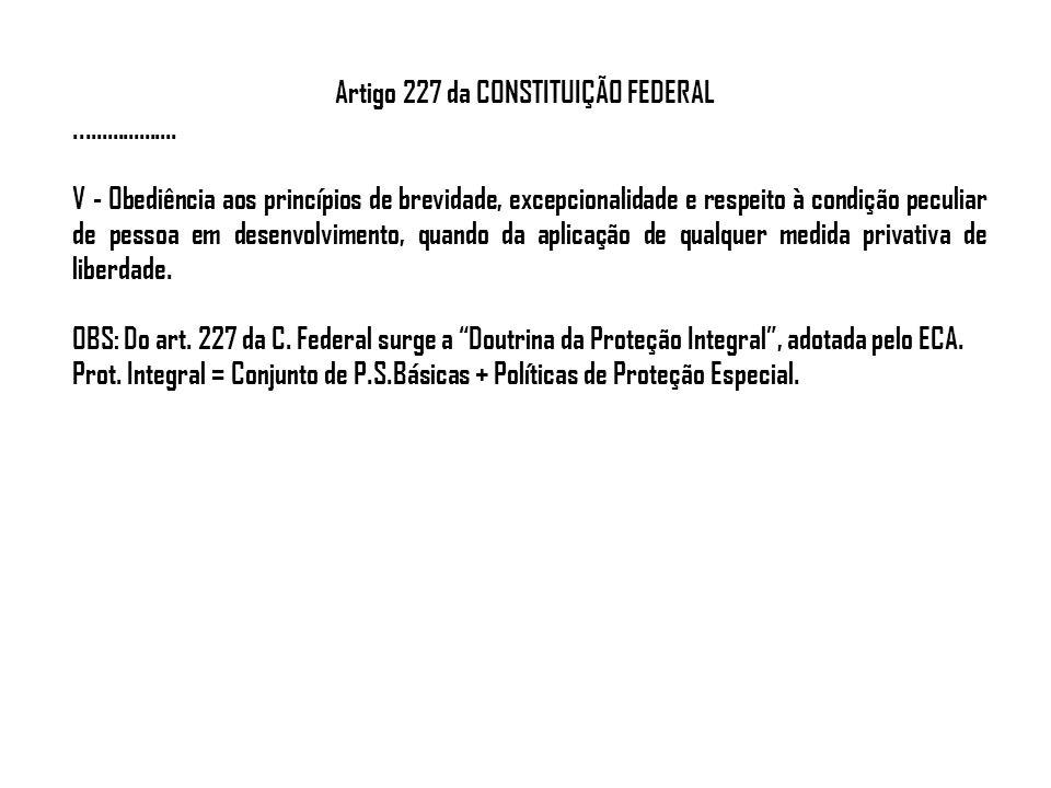 Artigo 227 da CONSTITUIÇÃO FEDERAL................... V - Obediência aos princípios de brevidade, excepcionalidade e respeito à condição peculiar de p