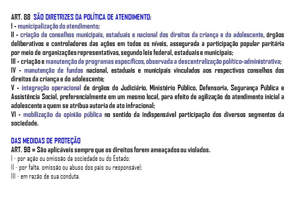 ART. 88 SÃO DIRETRIZES DA POLÍTICA DE ATENDIMENTO: I - municipalização do atendimento; II - criação de conselhos municipais, estaduais e nacional dos