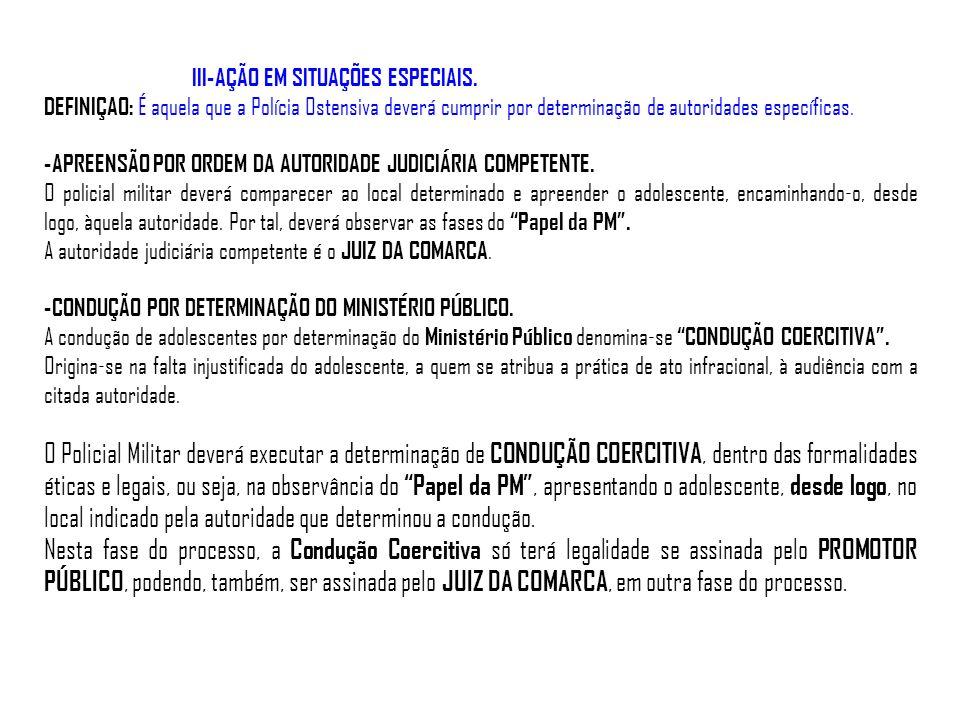 III-AÇÃO EM SITUAÇÕES ESPECIAIS. DEFINIÇAO: É aquela que a Polícia Ostensiva deverá cumprir por determinação de autoridades específicas. -APREENSÃO PO