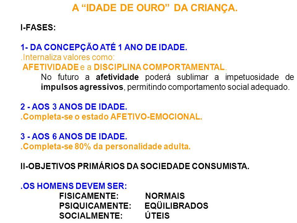 A IDADE DE OURO DA CRIANÇA. I-FASES: 1- DA CONCEPÇÃO ATÉ 1 ANO DE IDADE..Internaliza valores como: AFETIVIDADE e a DISCIPLINA COMPORTAMENTAL. No futur