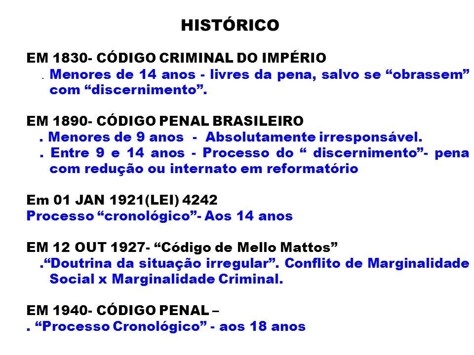 HISTÓRICO EM 1830- CÓDIGO CRIMINAL DO IMPÉRIO. Menores de 14 anos - livres da pena, salvo se obrassem com discernimento. EM 1890- CÓDIGO PENAL BRASILE