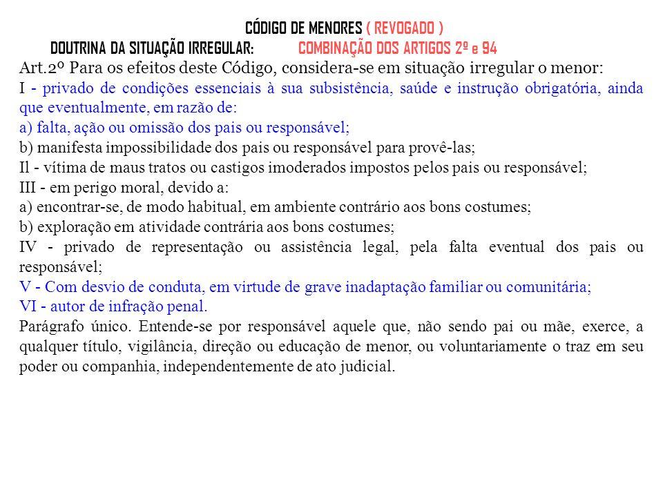 CÓDIGO DE MENORES ( REVOGADO ) DOUTRINA DA SITUAÇÃO IRREGULAR: COMBINAÇÃO DOS ARTIGOS 2º e 94 Art.2º Para os efeitos deste Código, considera-se em sit