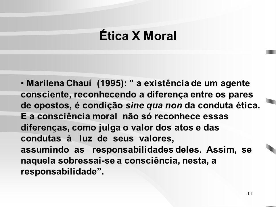 11 Ética X Moral Marilena Chauí (1995): a existência de um agente consciente, reconhecendo a diferença entre os pares de opostos, é condição sine qua non da conduta ética.