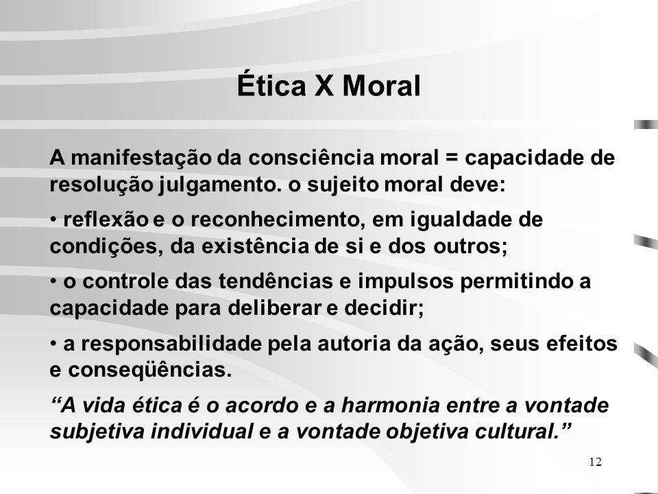12 Ética X Moral A manifestação da consciência moral = capacidade de resolução julgamento.