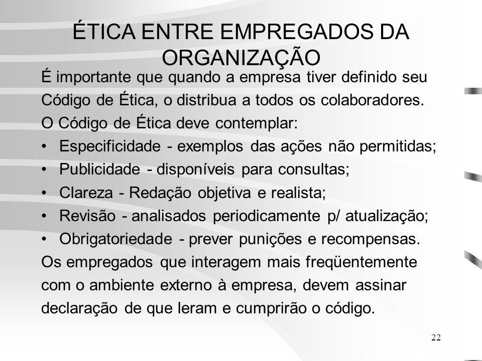 22 ÉTICA ENTRE EMPREGADOS DA ORGANIZAÇÃO É importante que quando a empresa tiver definido seu Código de Ética, o distribua a todos os colaboradores.