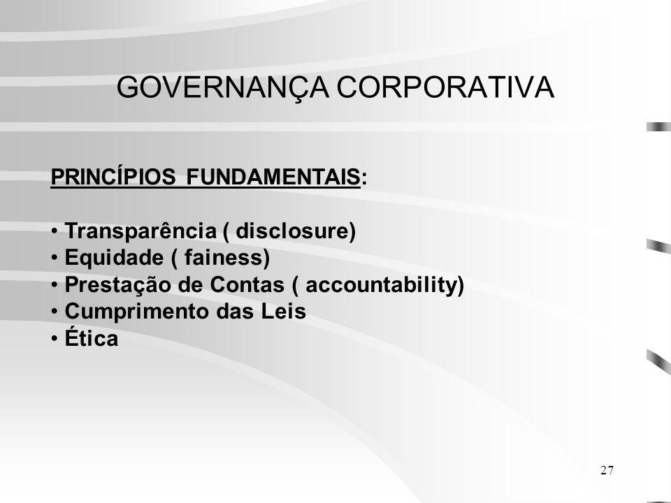 27 GOVERNANÇA CORPORATIVA PRINCÍPIOS FUNDAMENTAIS: Transparência ( disclosure) Equidade ( fainess) Prestação de Contas ( accountability) Cumprimento das Leis Ética