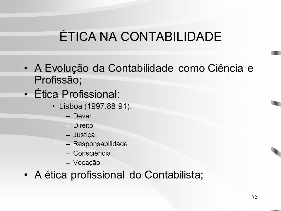 32 ÉTICA NA CONTABILIDADE A Evolução da Contabilidade como Ciência e Profissão; Ética Profissional: Lisboa (1997:88-91): –Dever –Direito –Justiça –Responsabilidade –Consciência –Vocação A ética profissional do Contabilista;
