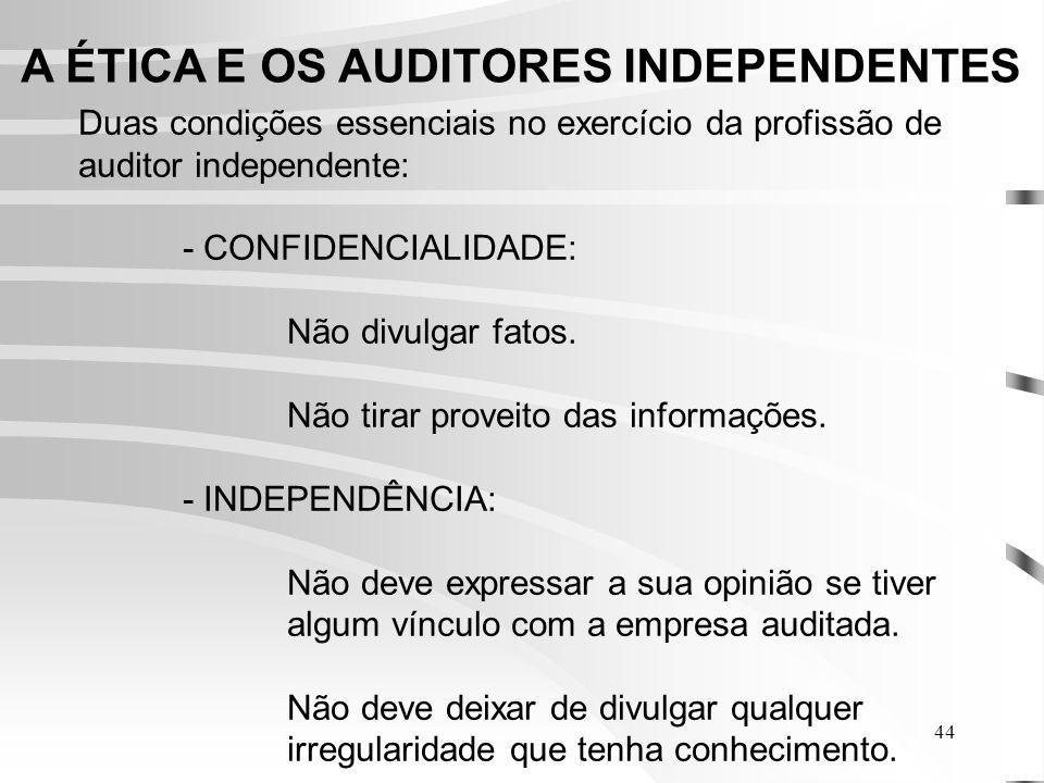 44 A ÉTICA E OS AUDITORES INDEPENDENTES Duas condições essenciais no exercício da profissão de auditor independente: - CONFIDENCIALIDADE: Não divulgar fatos.