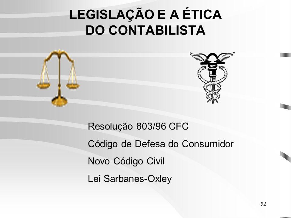52 LEGISLAÇÃO E A ÉTICA DO CONTABILISTA Resolução 803/96 CFC Código de Defesa do Consumidor Novo Código Civil Lei Sarbanes-Oxley