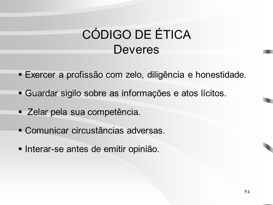 54 CÓDIGO DE ÉTICA Deveres Exercer a profissão com zelo, diligência e honestidade.