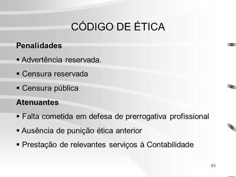 61 CÓDIGO DE ÉTICA Penalidades Advertência reservada.