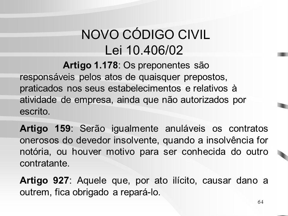 64 NOVO CÓDIGO CIVIL Lei 10.406/02 Artigo 1.178: Os preponentes são responsáveis pelos atos de quaisquer prepostos, praticados nos seus estabelecimentos e relativos à atividade de empresa, ainda que não autorizados por escrito.