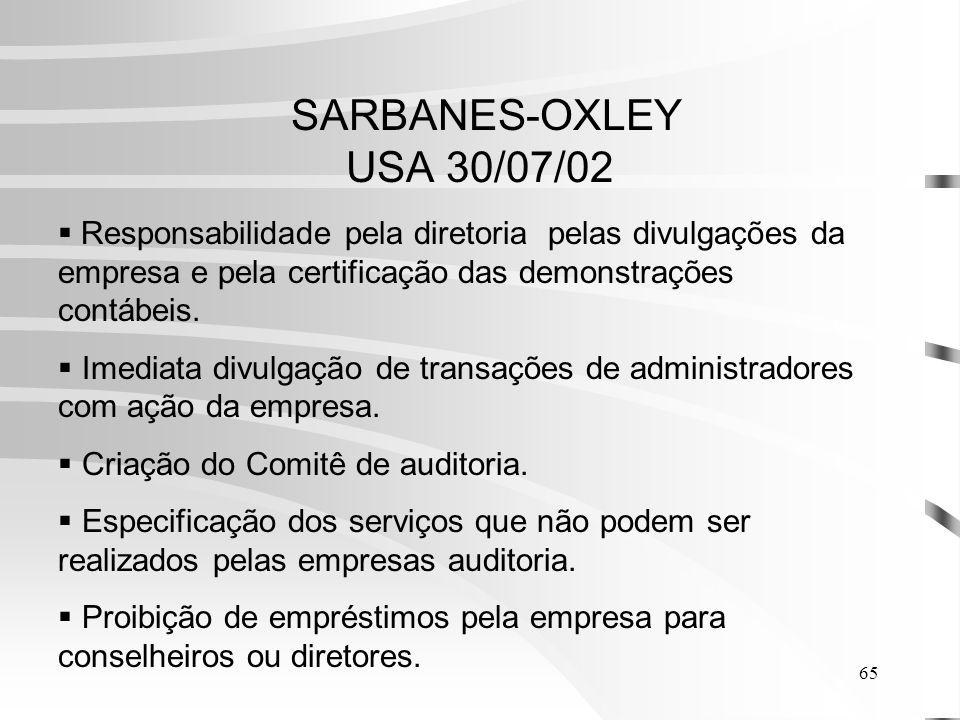 65 SARBANES-OXLEY USA 30/07/02 Responsabilidade pela diretoria pelas divulgações da empresa e pela certificação das demonstrações contábeis.