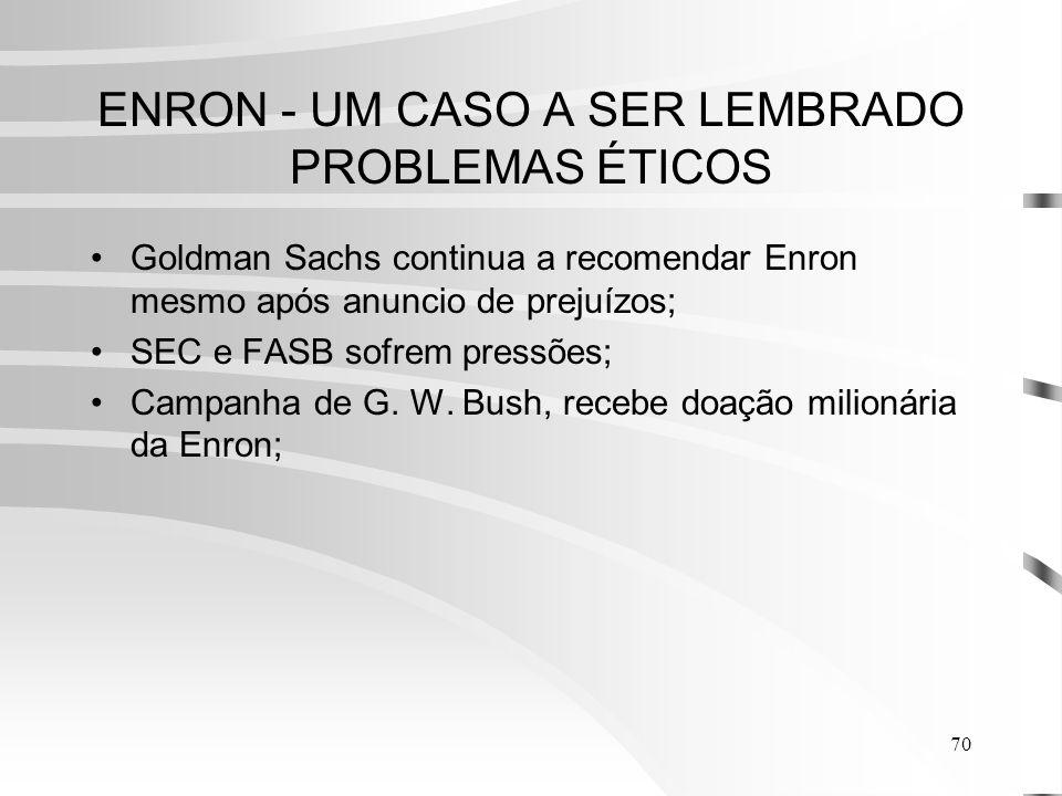 70 ENRON - UM CASO A SER LEMBRADO PROBLEMAS ÉTICOS Goldman Sachs continua a recomendar Enron mesmo após anuncio de prejuízos; SEC e FASB sofrem pressões; Campanha de G.
