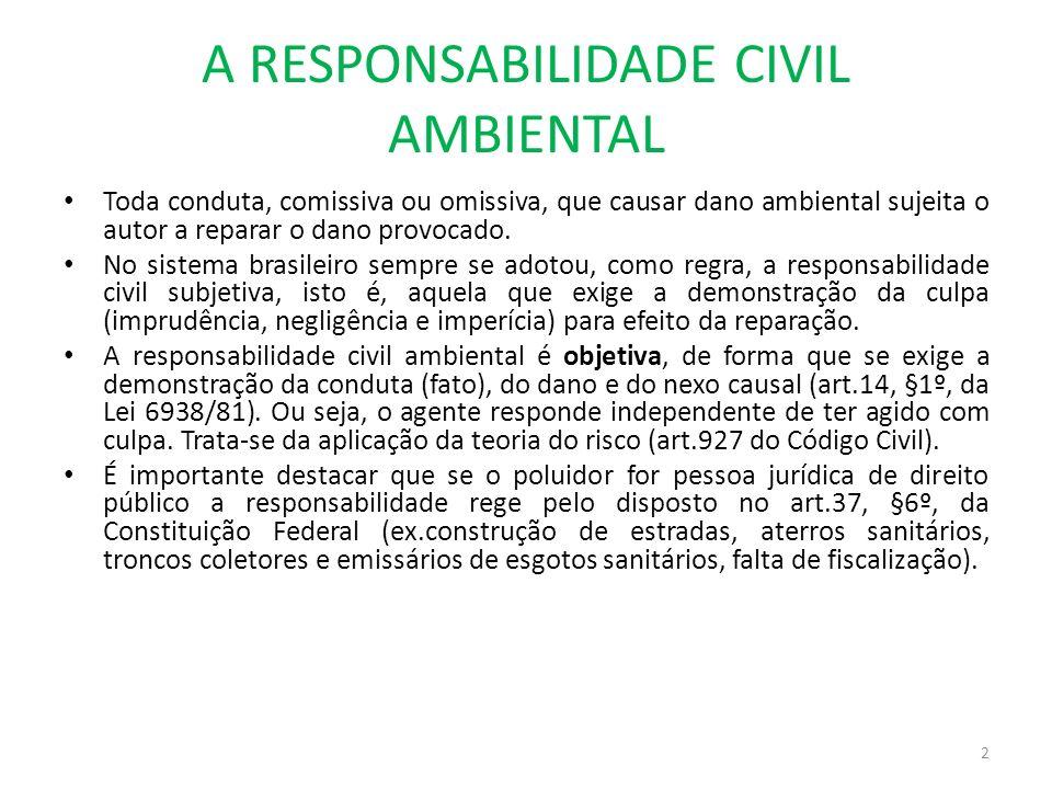 A RESPONSABILIDADE CIVIL AMBIENTAL Toda conduta, comissiva ou omissiva, que causar dano ambiental sujeita o autor a reparar o dano provocado. No siste