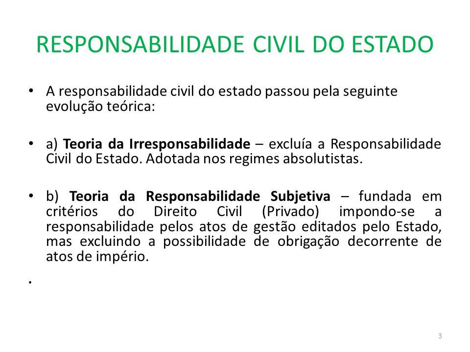 RESPONSABILIDADE CIVIL DO ESTADO A responsabilidade civil do estado passou pela seguinte evolução teórica: a) Teoria da Irresponsabilidade – excluía a
