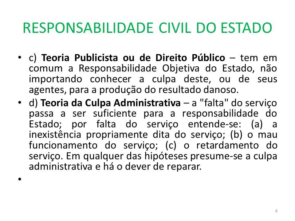RESPONSABILIDADE CIVIL DO ESTADO c) Teoria Publicista ou de Direito Público – tem em comum a Responsabilidade Objetiva do Estado, não importando conhe