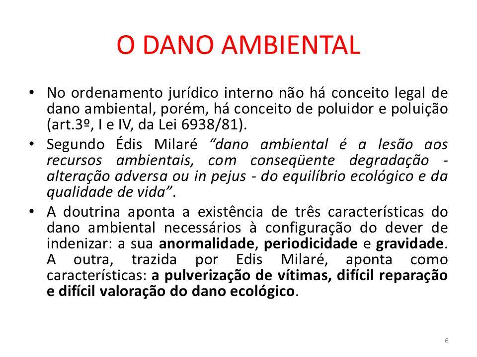 O DANO AMBIENTAL No ordenamento jurídico interno não há conceito legal de dano ambiental, porém, há conceito de poluidor e poluição (art.3º, I e IV, d