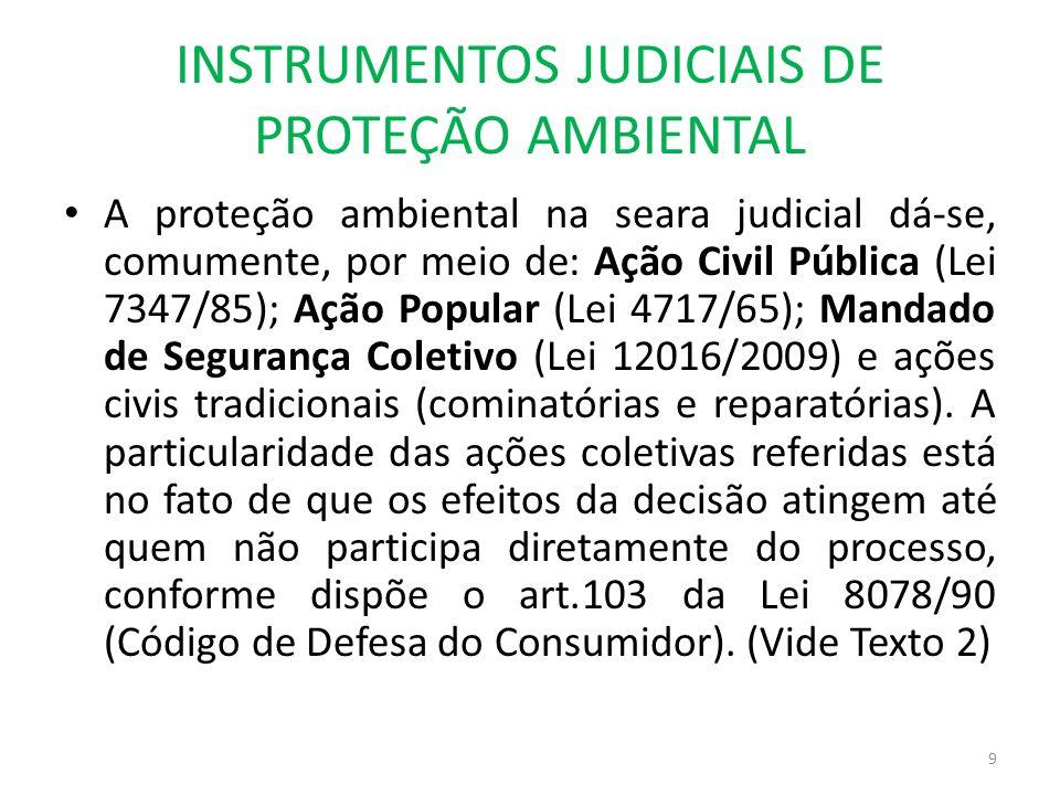 INSTRUMENTOS JUDICIAIS DE PROTEÇÃO AMBIENTAL A proteção ambiental na seara judicial dá-se, comumente, por meio de: Ação Civil Pública (Lei 7347/85); A