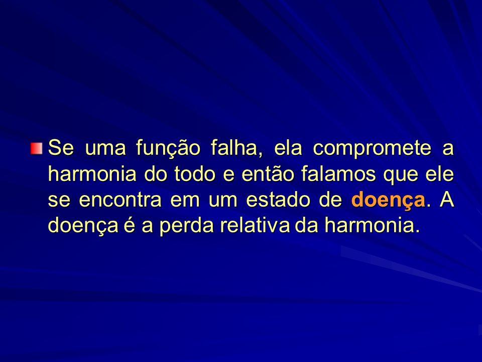 Se uma função falha, ela compromete a harmonia do todo e então falamos que ele se encontra em um estado de doença.