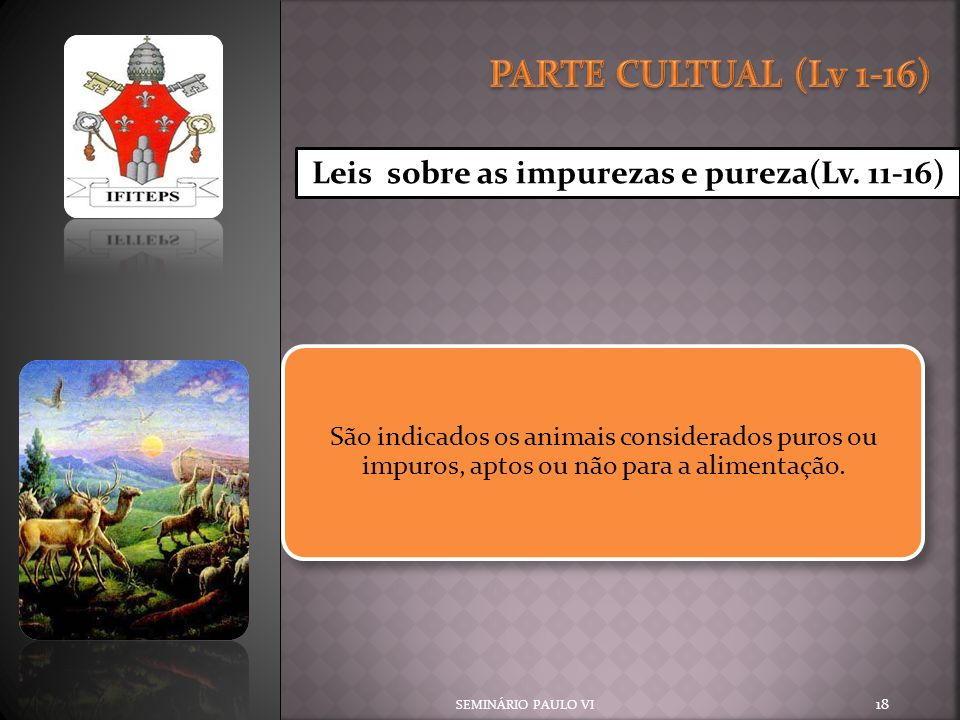 SEMINÁRIO PAULO VI 18 Leis sobre as impurezas e pureza(Lv. 11-16) São indicados os animais considerados puros ou impuros, aptos ou não para a alimenta