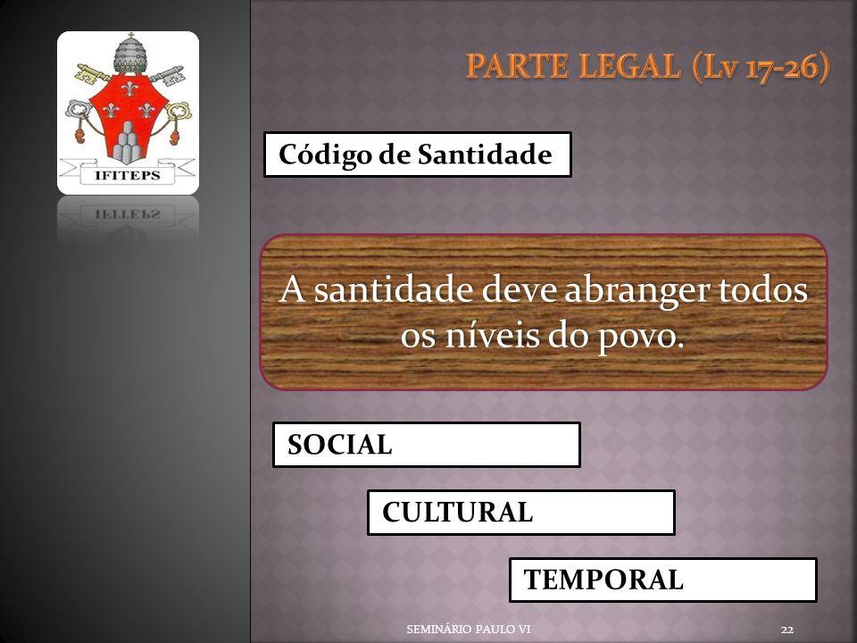 SEMINÁRIO PAULO VI 22 Código de Santidade A santidade deve abranger todos os níveis do povo. SOCIAL CULTURAL TEMPORAL