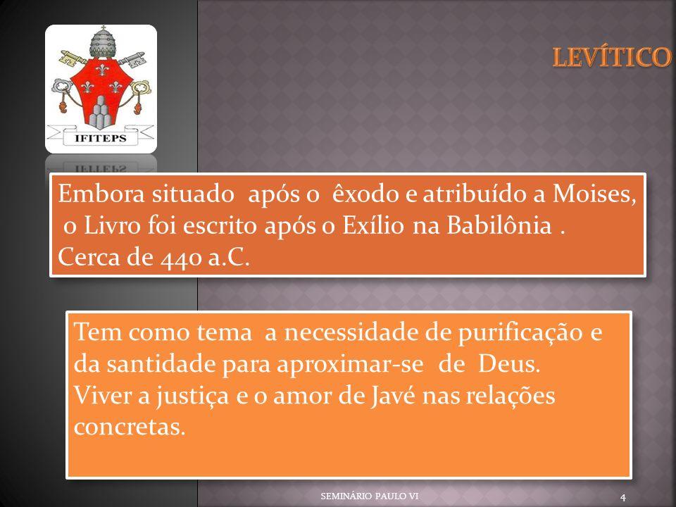 SEMINÁRIO PAULO VI 25 A importância da Santidade Atém-se ao exterior das pessoas, contatos, alimentos e comportamentos.