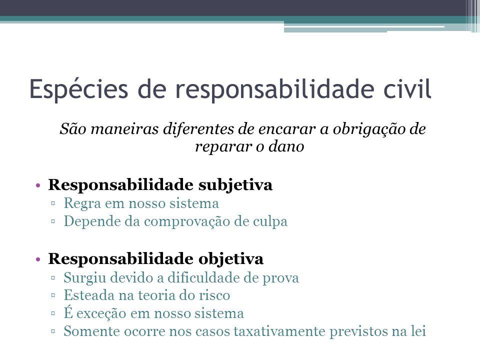 Espécies de responsabilidade civil São maneiras diferentes de encarar a obrigação de reparar o dano Responsabilidade subjetiva Regra em nosso sistema