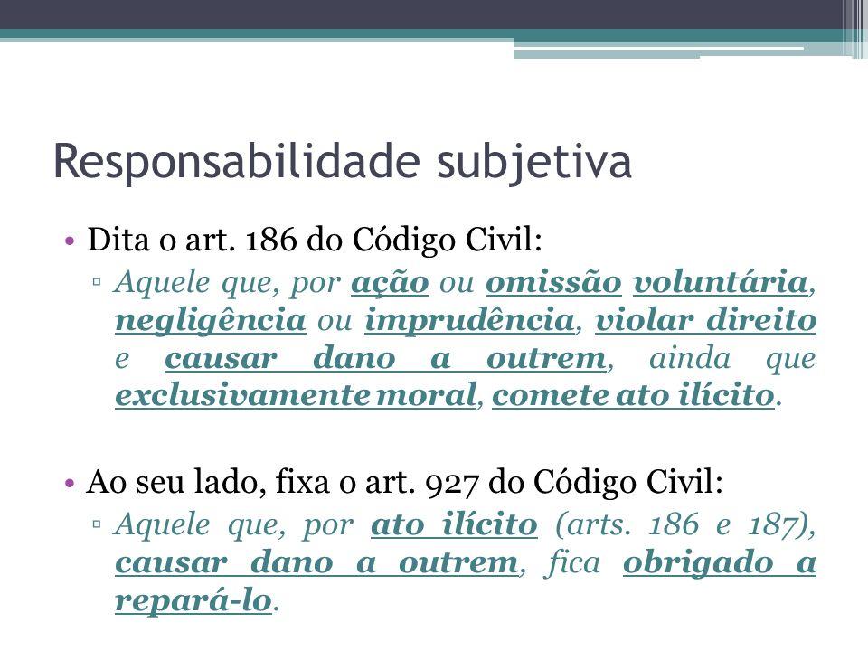 Responsabilidade subjetiva Dita o art. 186 do Código Civil: Aquele que, por ação ou omissão voluntária, negligência ou imprudência, violar direito e c