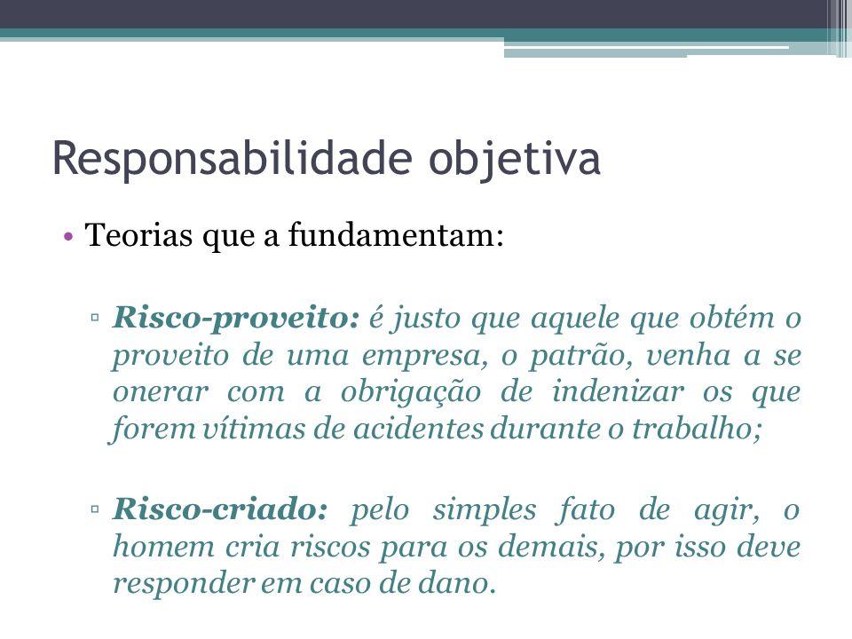 Responsabilidade objetiva Teorias que a fundamentam: Risco-proveito: é justo que aquele que obtém o proveito de uma empresa, o patrão, venha a se oner
