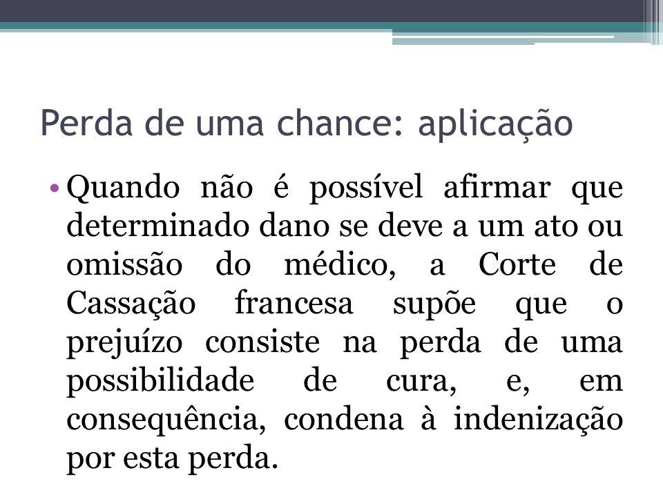 Perda de uma chance: aplicação Quando não é possível afirmar que determinado dano se deve a um ato ou omissão do médico, a Corte de Cassação francesa
