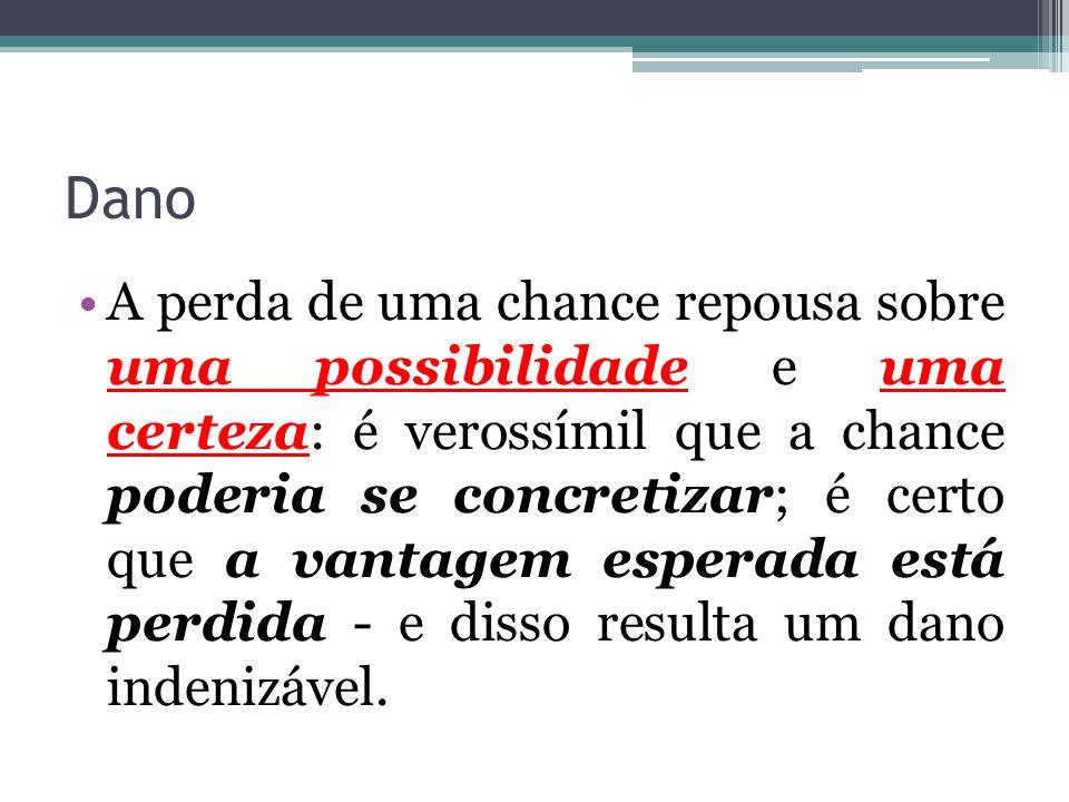 Dano A perda de uma chance repousa sobre uma possibilidade e uma certeza: é verossímil que a chance poderia se concretizar; é certo que a vantagem esperada está perdida - e disso resulta um dano indenizável.